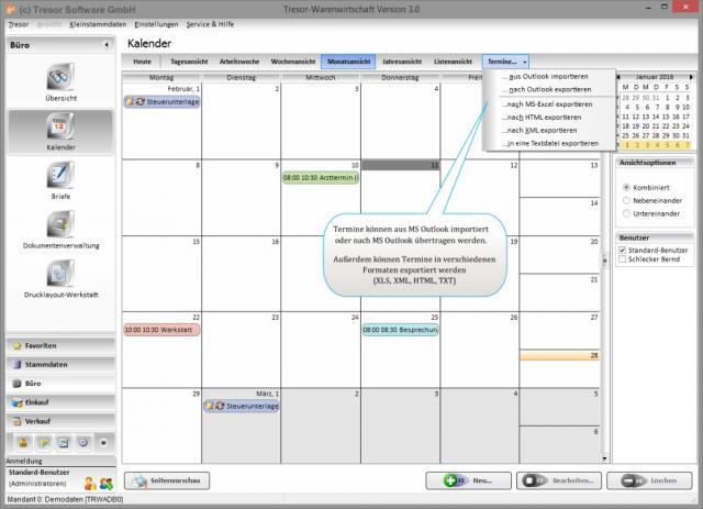 Kalender - Monatsansicht