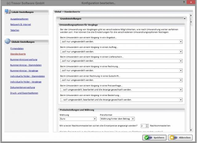 Konfiguration - Standardwerte
