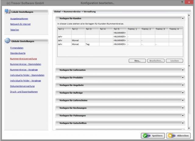 Konfiguration - Nummernkreisverwaltung