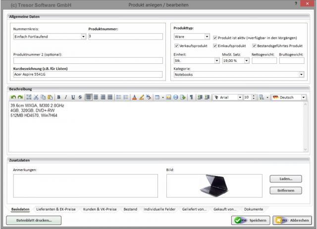 Produktverwaltung in Tresor Warenwirtschaftssystem