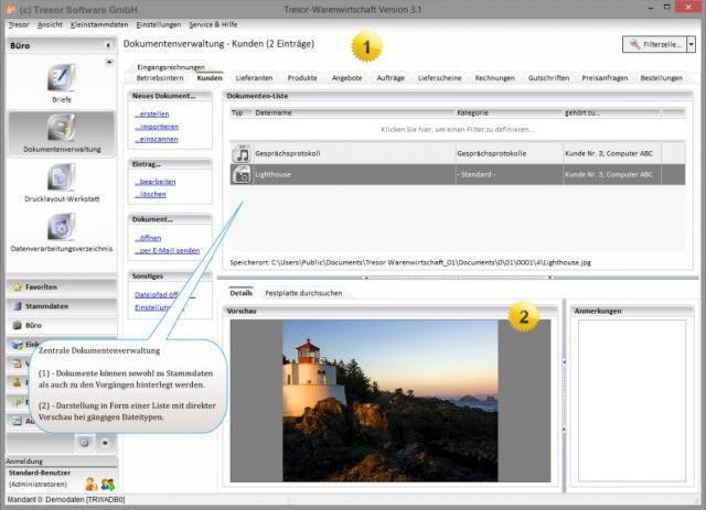 Dokumentenverwaltung in Tresor Warenwirtschaftssystem