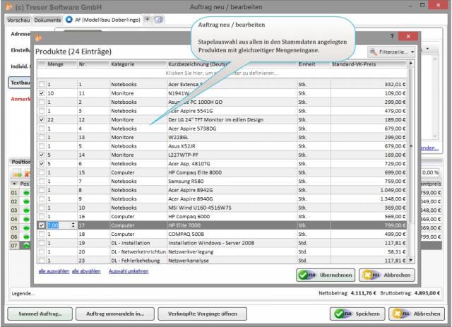 Stapelproduktauswahl in Tresor Warenwirtschaftssoftware