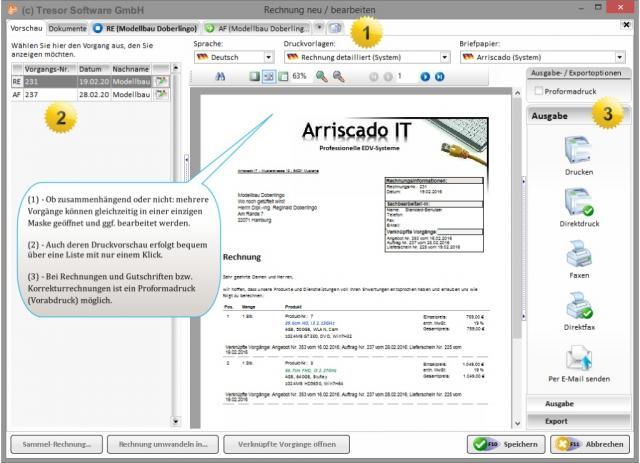 Druckvorschau in Tresor Warenwirtschaftssoftware