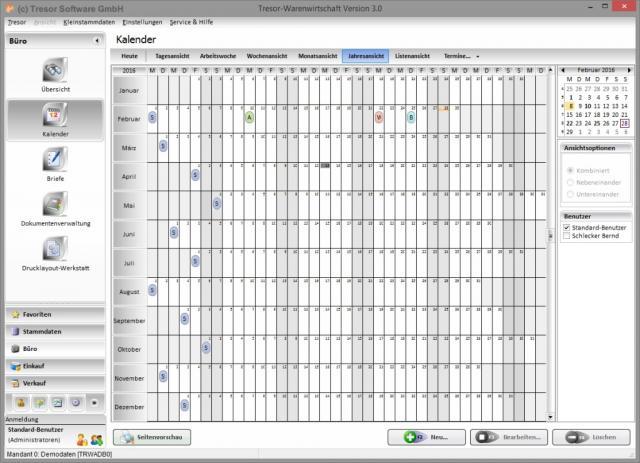 Kalender in Tresor Warenwirtschaft